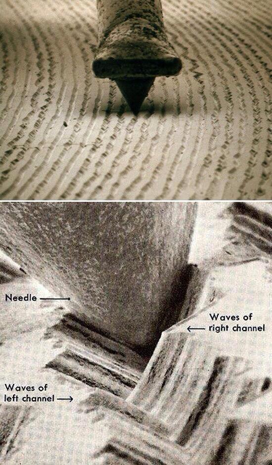 A quoi ressemblent les sillons d'un vinyle, grossis 1000 fois au microscope ?
